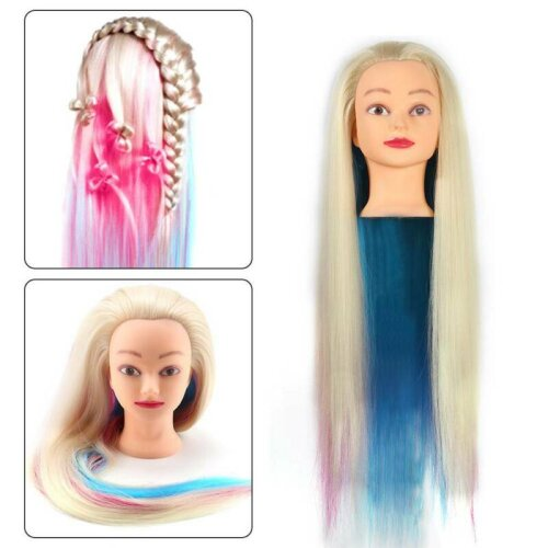 Salon 60cm Long Colorful Hair Mannequin Doll Training Head + Clamp