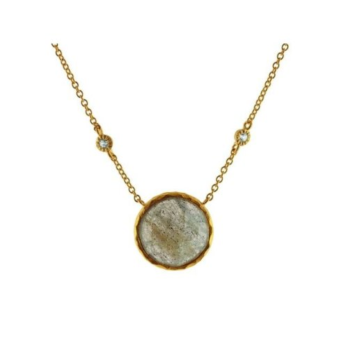 Fronay 211527 15.5 in. Natural Faceted Labradorite Round Stone & Cubic Zirconia Necklace in Gold Plated Silver