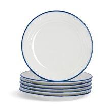 6x Country Farmhouse White Dessert Plates Set with Blue Rims 21cm