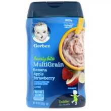 Gerber, MultiGrain Cereal, 12+ Months, Banana, Apple, Strawberry, 227g