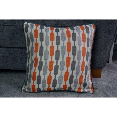 McAlister Textiles Lotta Terracotta Orange + Grey Cushion