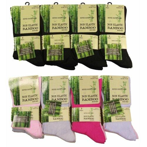 Women Ladies 6 Pairs Bamboo Non Elastic Loose Top Super Soft Anti Bacterial Socks