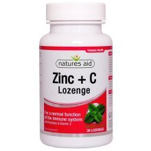 Natures Aid Zinc Lozenges (Peppermint) Rosehip + Vitamin C 30 Lozenges