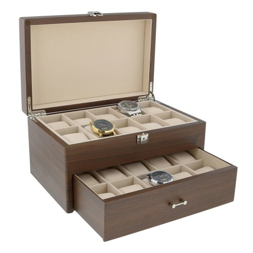 Natural Walnut Watch Collectors Box with Drawer for 20 Wrist watches Solid Lid by Aevitas
