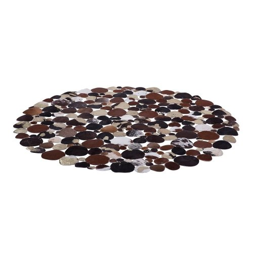 Leather Round Rug ø 140 cm Multicolour SORGUN