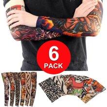 6 Pack Elastic Fake Temporary Tattoo Sleeve Full Arm Tribal Body Art Mens Women