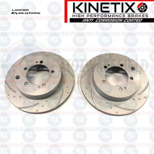 for Mitsubishi Lancer evo 4 5 rear grooved brake discs 2 pot Piston caliper 284