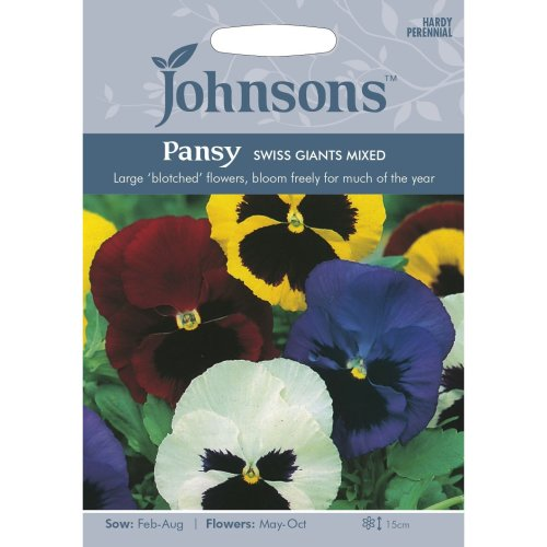 Johnsons Seeds - Pictorial Pack - Flower - Pansy Swiss Giants Mixed - 120 Seeds