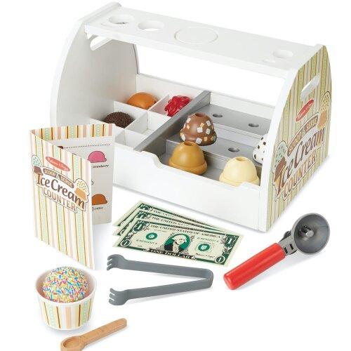 Melissa & Doug Wooden Scoop & Serve Ice Cream Counter Set -  28 Pcs