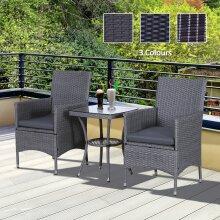 Outsunny 3 PCS Wicker Steel Patio Coffee Set Rattan Furniture Garden Outdoor