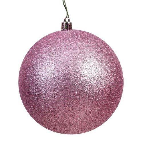 Mauve Glitter Drilled Ball Ornament, 4.75 in. - 4 per Bag