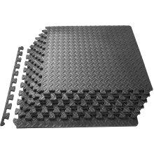 Abaseen Puzzle Exercise Mat, EVA Foam Interlocking Tiles, Grey 6