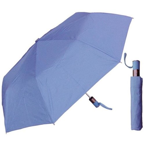 RainStoppers W014BLUE 44 in. Auto Open Columbia Blue Mini Umbrella with Matching Handle, 6 Piece