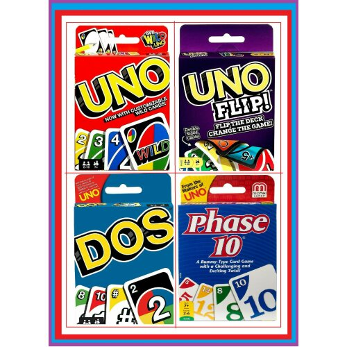 Family Card Games - Multiple Options Including Uno Flip & Phase 10