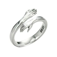 Sterling Silver Colour Love Hug Ring Open Finger Fully Adjustable Women Jewelry