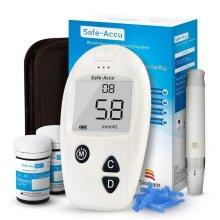 Sinocare Diabetes Testing Kit/Blood Glucose Monitor Safe Accu/Blood Glucose Sugar Test Kit with Codefree Strips x 50 & Painfree Lancets x 50 & Case