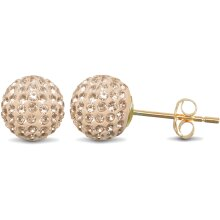 Jewelco London Ladies 9ct Yellow Gold Champagne Peach Round Crystal Disco Ball Stud Earrings, 8mm