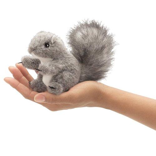 Finger Puppet - Folkmanis - Mini Gray Squirrel New Animals Soft Doll Plush 2648