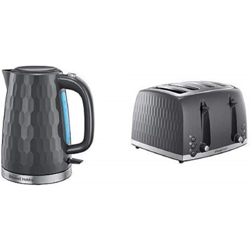 Russell Hobbs 26053 Cordless Electric Kettle, Grey with 26073 4 Slice Toaster, Grey