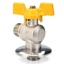 "1/2"" PEX Tube Triangle Valves Brass Angle Flare Gas Ball Valve Blue Handle For Water Mainfold"