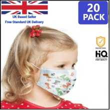 Kids Disposable Face Masks 3 Ply Ships from UK 20 pcs