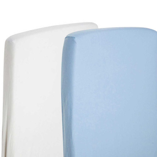100/% Cotton pink /& Blue 2 x Fitted Sheet Compatible With Snuzpod Bedside Crib