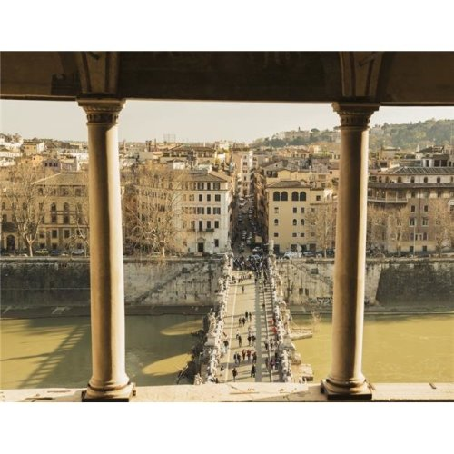 Castel Santangelo Bridge Santangleo & River Tiber - Rome Lazio Italy Poster Print - 17 x 13 in.