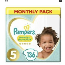 Pampers premium nappy size 5 136 monthly saver 11-16kg