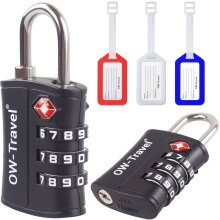 TSA Approved Suitcase Luggage Locks + Luggage Tags. 3 Digit Padlock Combination Security Padlocks Code Lock for Zipper Bag Case Backpack Gym Locker
