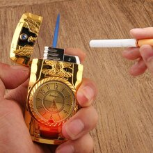 Windproof Jet Lighter With Light&Quartz Clock Refillable Lighter Gift