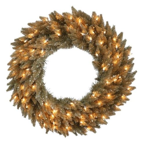 Vickerman K156425LED Antique Champagne Dural-Lit Wreath with Warm White LED Lights, 24 in.