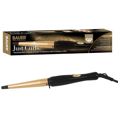 Bauer Professional Conical Ceramic Hair Curling Wand Salon Curls Tong Styler