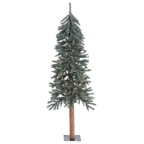 Vickerman B907351 Natural Bark Dura-Lit Alpine Tree with Clear Lights - 5 ft. x 25 in.