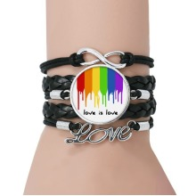 Love is Love LGBT Rainbow Color Bracelet Love Black Twisted Leather Rope Wristband