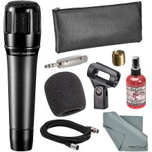 Audio-Technica ATM650 Hypercardioid Dynamic Instrument Microphone Bundle with Windscreen + Mic Sanitizer + Adapter + XLR Cable + Fibertique Cloth