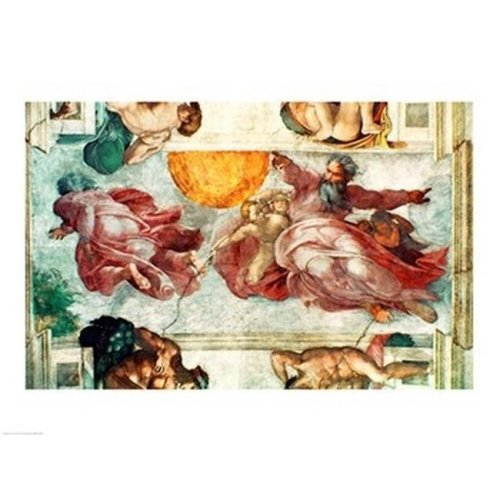 Sistine Chapel Ceiling - Creation of The Sun & Moon 1508-12 Poster Print by Michelangelo Buonarroti - 36 x 24 in. - Large