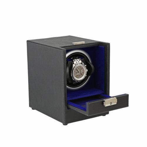 Black Genuine Leather Watch Winder Royal Blue Velvet Lining by Aevitas