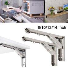 2Pcs Folding Brackets Heavy Duty Shelf Triangle Bench Mounted Table Wall Hinges