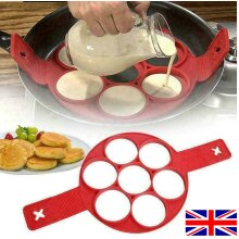 7 Round Non Stick Silicone Flipping Pancake Mold Egg Omelette Ring