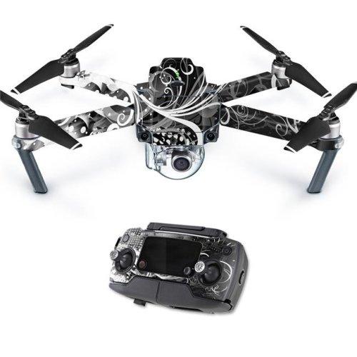 MightySkins DJMAVPRO-Black Flourish Skin Decal Wrap for DJI Mavic Pro Quadcopter Drone Cover Sticker - Black Flourish