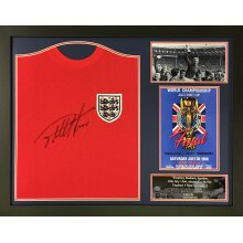 Framed Sir Geoff Hurst signed 1966 England World Cup shirt with COA