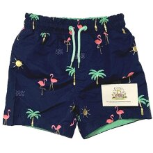 Boys Flamingo Swim Shorts, Swimwear Navy Blue Beach Trunks, High Street Kids Holiday Children Summer