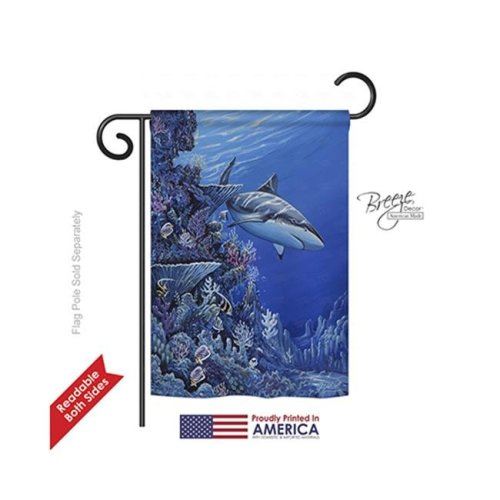 Breeze Decor 57050 Beach & Nautical Shark Reef 2-Sided Impression Garden Flag - 13 x 18.5 in.
