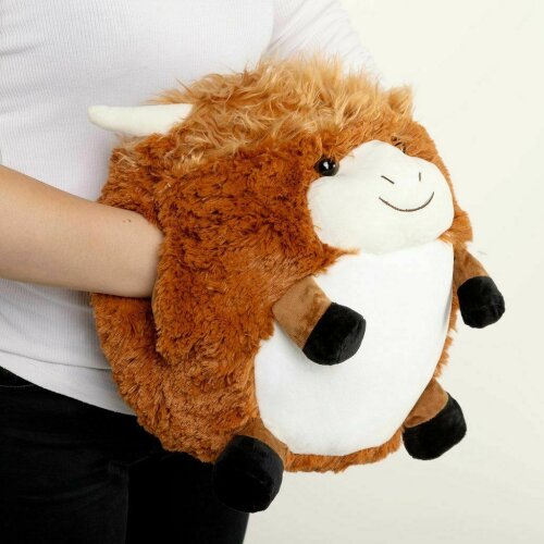Cozy Time 30cm Hand Warmer Giant Soft Plush Cuddly Toy Giant Highland Cow