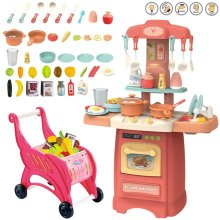 deAO 40 Pieces 'My Little Chef' Kitchen Play Set Role with Induction Hob, Water Features, Lights Sounds, Accessories and Shopping Cart (Pink)
