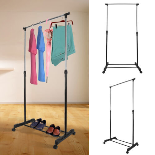 Adjustable Mobile Clothes Coat Garment Hanging Rail Rack Stand Wheels