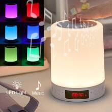 Bluetooth Speaker Dimmable LED Touch Night Light With Alarm Clock