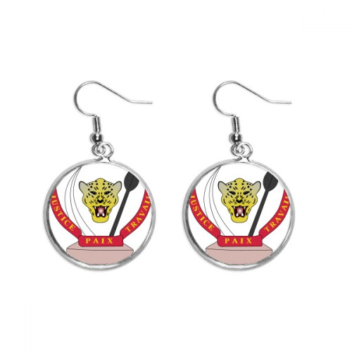 Congo National Emblem Country Ear Dangle Silver Drop Earring Jewelry Woman
