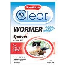 Bob Martin Clear Wormer Spot On For Cats | Cat & Kitten Wormer