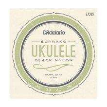Ukulele Strings D'Addario EJ53S Black Nylon Soprano Set GCEA High G Tuning